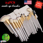 24PCS Cosmetic Makeup Brushes Powder Foundation Eyeshadow Lip Brush + Case Kit