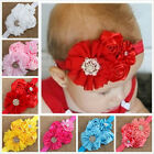 Cute Baby Toddler Pearl Chiffon Rose Flower Headbands Hair Band TB