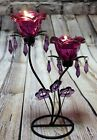 Large Purple Beaded wire Candle Holder wedding table decoration,dining table