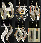 New 6-12Pairs Mix Gold GP Frosted Fashion Women Long Drop Earrings Hoop Earring