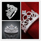 Hot Sales 1Pc Happiness Ladies Silver Plated Crown Band Ring In The Wedding US
