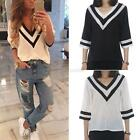 Fashion Women Ladies Casual Chiffon V-neck T-Shirt 3/4 Sleeve Loose Blouse Tops