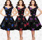 Women fashion print short sleeve v collar summer cocktail party evening dress