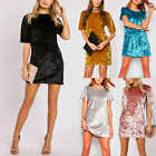 Women Crushed Velvet Dress Ladies Casual Loose Short Sleeve Party Mini Dress