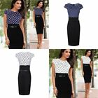 Dress Polka Dot Bodycon Pencil Skirt Cotton Ladies Women Elegant Patchwork