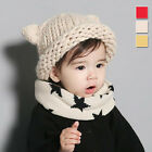 New Baby Knitted Hat Cute Cat Ear Kids Crochet Cap Boys Girls Pure Color Beanie