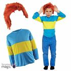 Childs Book Week Horrid Henry Blue Yellow Striped Jumper Fancy Dress Outfit Wig