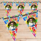 Personalised Girls Boys Balloons Happy Birthday Flag Banner Bunting N77