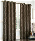 2 - Gramercy EMBROIDERED FAUX SILK LINED Grommet Panel Drapes Curtain - BROWN
