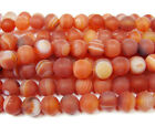 Red Striped Matte Agate Round Gemstone Beads~Guaranteed