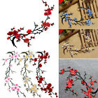Beauty Plum Blossom Flower Embroidered Patch Iron/Sew on Applique Motif Craft