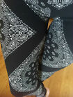 Soft Black White Brushed BANDANA PAISLEY leggings pant S M L 1X 2X ONE SIZE