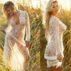Women Lace See Through Long Sleeve Maxi Beach Dress Deep V-neck Photo Props New