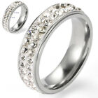 Mens Rhinestone Craft Glaze Stainless Steel Gift Party Ring Size 17-21
