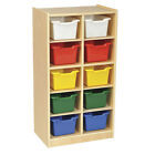 ECR4Kids Children Birch 10 Cubby Tray Cabinet with Bins