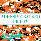 Orange Black & White Digital Camo Pattern Adhesive Craft Vinyl or HTV for Shirts