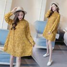 Latest Maternity Dress Pregnant Womans Long Sleeved Pleated Dresses Blouse Tops