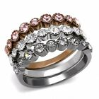 Top Grade Crystal in Light Black, Light Coffee, Silver IP Stainless Steel 3 Band
