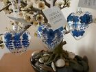 Gisela Graham Clear Glass Heart with Blue Flowers Easter decoration (3 asst) 7cm