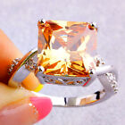 Gift Champagne Morganite White Topaz Fashion Jewelry Silver Ring Size 6 7 8 9 10