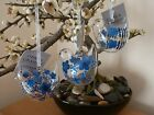Gisela Graham Clear Glass Bird with Blue Flowers Easter decoration (3 asst) 6cm