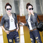 Ladies DENIM JACKET Womens Jean Jackets Vintage Long Sleeve Slim Coat Tops