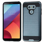 For LG G6 Premium Brushed Metal HYBRID Rubber Case Snap Cover + Screen Guard