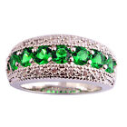 Fashion Green Emerald White Silver Wedding Jewelry Ring Size 6 7 8 9 10 11 12 13