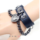 Lady Men Goth Punk Pyramid Studs Faux Leather Cuff Bracelet Wristband Gift
