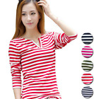 Girls fashion v-neck striped long-sleeved T-shirt casual shirt Slim Tops
