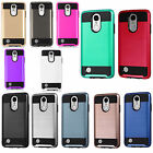 For LG Fortune Brushed Metal HYBRID Rubber Case Phone Cover + Screen Protector