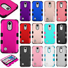 For LG Phoenix 3 Rubber IMPACT TUFF HYBRID Case Skin Phone Cover + Screen Guard