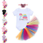 Baby Girls Outfit Clothes 1st Crown Princess Tutu Romper Headband Skirt 3pcs Set