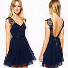New Lace Chiffon Short Bridesmaid Formal Prom Party Ball Gown Evening Dress S-XL