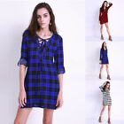 Plus Size 8-22 Women Casual Shirt V Neck T-Shirt Lace-up Check Mini Dress Blouse