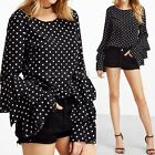 Zanzea Women Plus Flouncing Ruffled Polka Dot Spotted Loose Tops Blouse T-Shirt