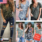 Womens Summer Short Sleeve Shirt Casual Ladies Blouse Loose Cotton Tops T Shirt