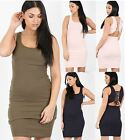 Ladies Womens Ribbed Dress Bodycon Lace Back Sleeeveless Long Vest Tank Rib Top