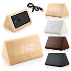 Classical Triangular Blue Digital LED Wood Wooden Desk Alarm Clock Thermometer