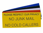 Engraved Plaque No Junk Mail, No Cold Callers Letterbox Front Door Sign 125 x 50