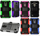 For LG K20 Plus Holster with Hard HYBRID KICK STAND Rubber Phone Case Accessory