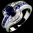 Women Blue Sapphire White Gold-Filled Engagement Rings Size 7 8 9 Rings  TBCA