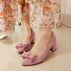 Women's Sweet Bowknot Candy Colors Party Pumps Mid Chunky Heel Shoes Plus Size