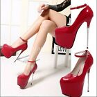 Clubwear Women's Sexy Patent Leather Platform Ankle Strap Super High Heel Shoes