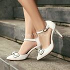 Womens Stilettos High Heel Pointy Toes Ankle Straps Bowknowts Pumps Party Shoes