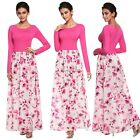 FINEJO Elegant Women Splicing Floral O-neck Long Sleeve Slim Casual Long N4U8