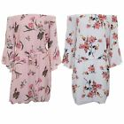Ladies Bell Sleeve Crepe Lined Chiffon Floral Bardot Flare Swing Tie Waist Dress