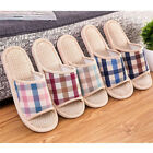 Men Women Anti slip Flax Linen Plaid Home Indoor Slippers Summer Open Toe Shoes