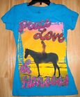Girls Horse shirt~SUMMER TIME~First LOVE~Turquoise~Glitter Top~GREAT PRICE~NOWT~