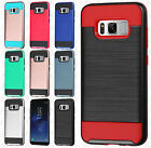 For Samsung Galaxy S8 / S8 PLUS Brushed Metal HYBRID Rubber Cover +Screen Guard